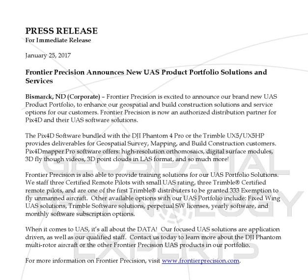 press-release-frontier-precision-inc-uas-portfolio-expansion-2017-page-001